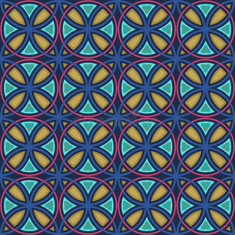 Modèle coloré sans couture en verre souillé illustration de vecteur