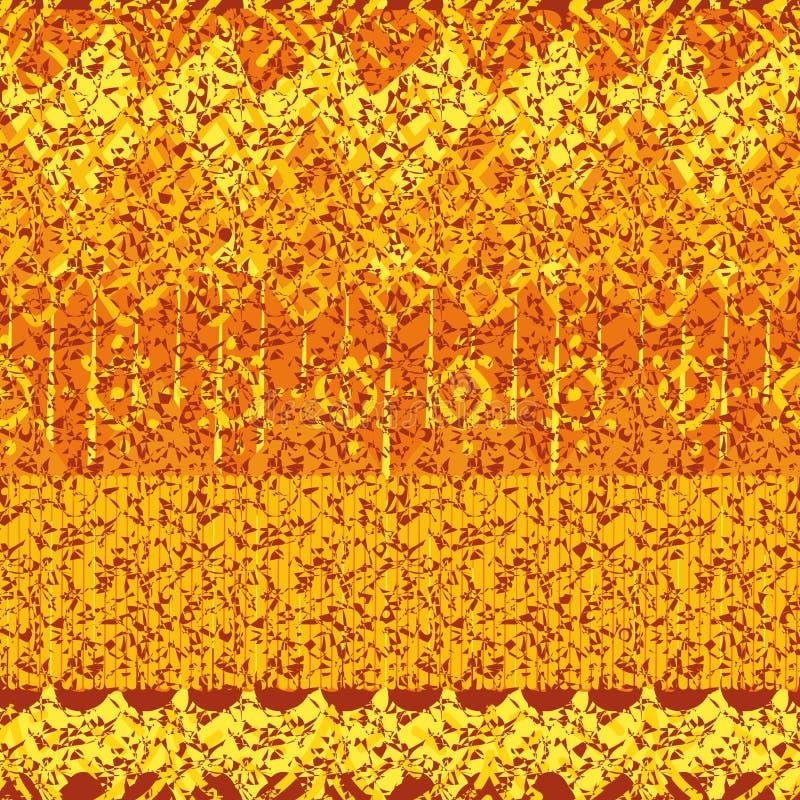 Modèle comme un batik texturisé rayé de vecteur abstrait sans couture dans des tons oranges illustration stock
