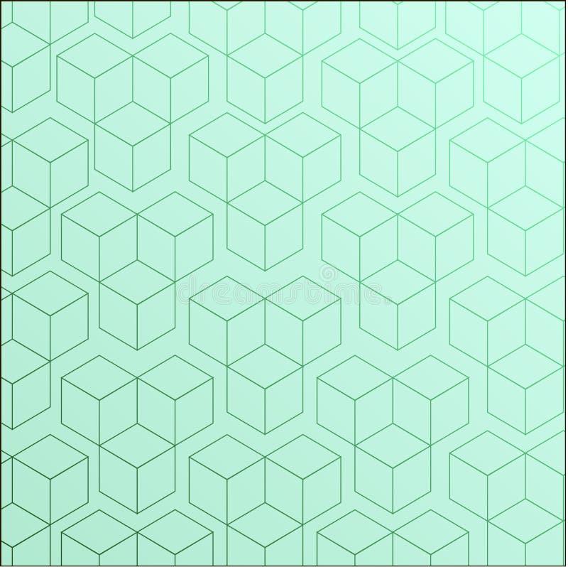 Modèle complètement sans couture et abstrait de cube illustration stock