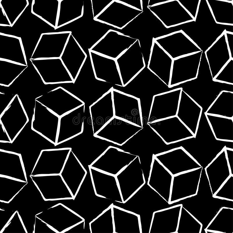 Modèle complètement sans couture et abstrait de cube Conception noire et blanche, fond 3d géométrique illustration libre de droits