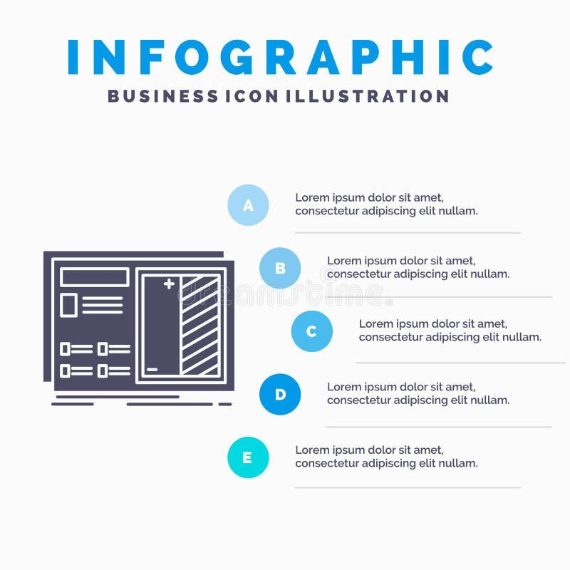 Modèle, conception, dessin, plan, calibre d'Infographics de prototype pour le site Web et présentation Ic?ne grise de GLyph avec  illustration de vecteur