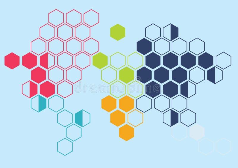 Modèle continent de mur de fond d'hexagone image stock