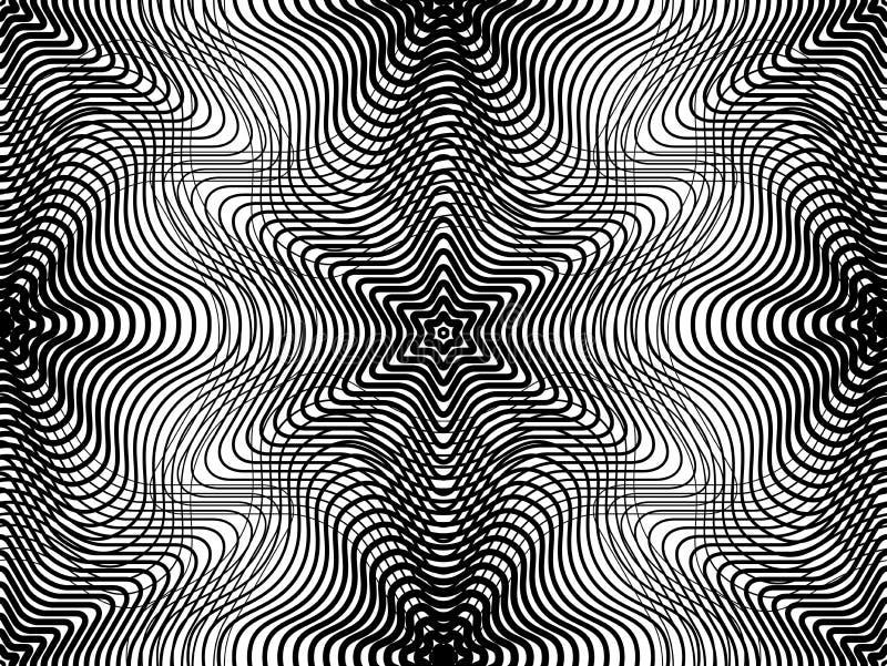 Modèle continu de vecteur avec les lignes graphiques noires, décoratives illustration stock