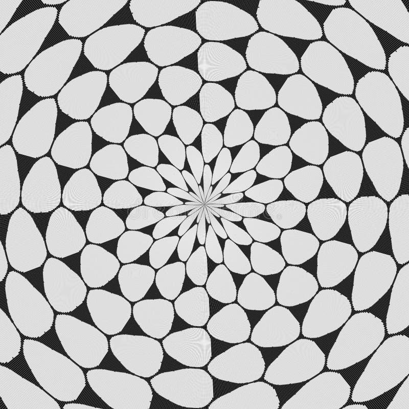 Modèle courbé noir et blanc régulier aligné radialement Ligne tramée illustration d'anneau Fond abstrait de fractale illustration libre de droits