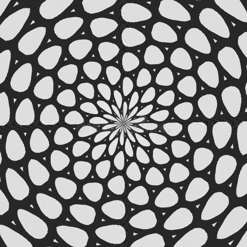 Modèle courbé noir et blanc régulier aligné radialement Ligne tramée illustration d'anneau Fond abstrait de fractale illustration stock