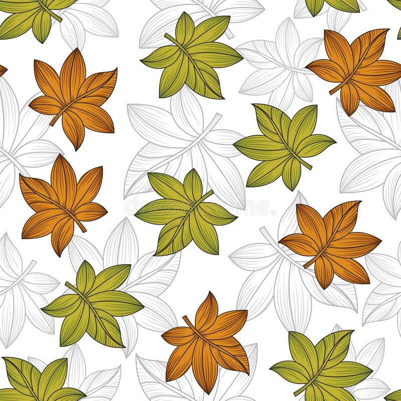 Modèle créatif de feuilles de vecteur sans couture illustration stock