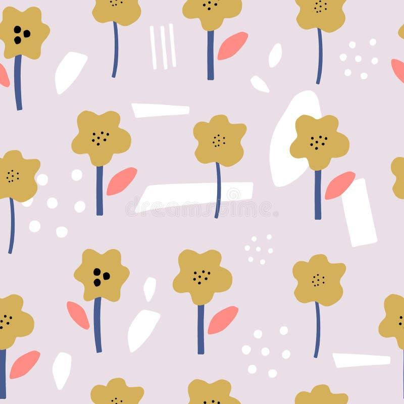 Modèle créatif floral sans couture avec les fleurs décoratives dans le style de scandi Bon pour le tissu, textile, art de mur, pa illustration de vecteur