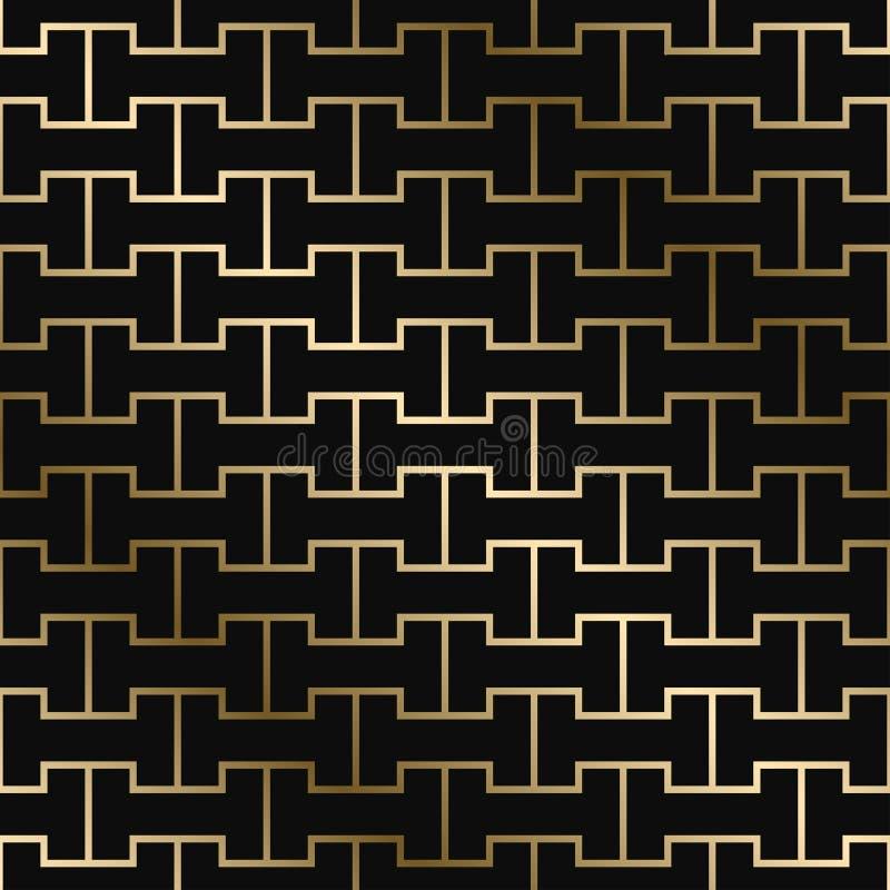 Modèle créatif géométrique de vecteur - style d'art déco Conception de luxe sans couture de gradient d'or Fond ornemental riche illustration libre de droits