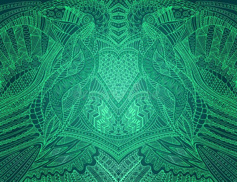 Modèle décoratif abstrait, ligne verte contour, fond bleu vert d'isolement de palett de couleur Carte élégante, cru illustration de vecteur