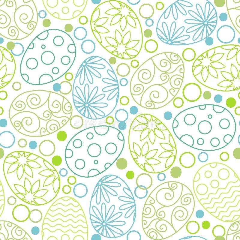 Modèle décoratif d'oeufs de pâques sur le fond blanc Calibre heureux de Pâques avec des oeufs, des fleurs et des feuilles Vecteur illustration libre de droits