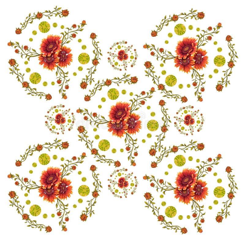 Modèle décoratif de cercle des fleurs de Gaillardia photo stock