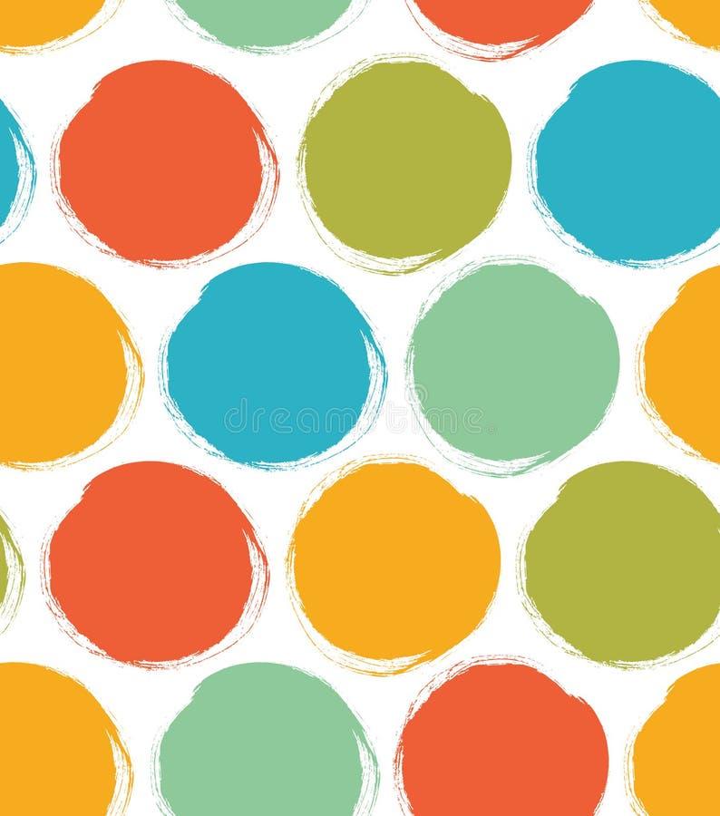 Modèle décoratif de peinture avec les cercles tirés Texture lumineuse sans couture illustration stock