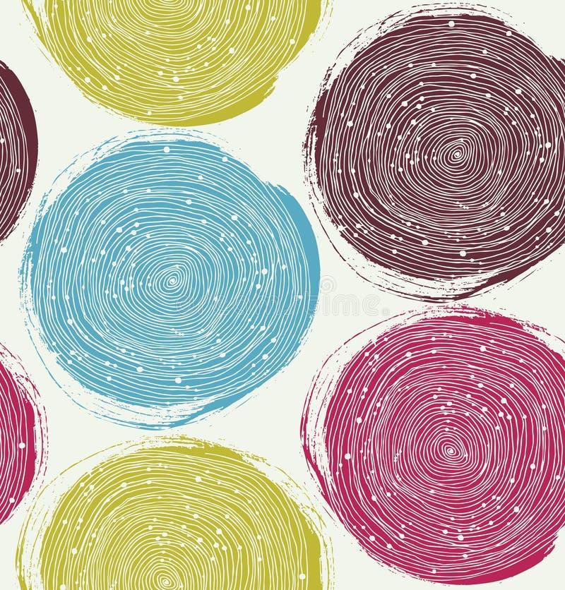 Modèle décoratif de peinture Texture sans couture de vecteur avec les cercles tirés illustration stock