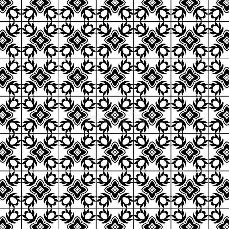 Modèle décoratif noir et blanc pour le papier peint, textile concevant et imprimant illustration libre de droits