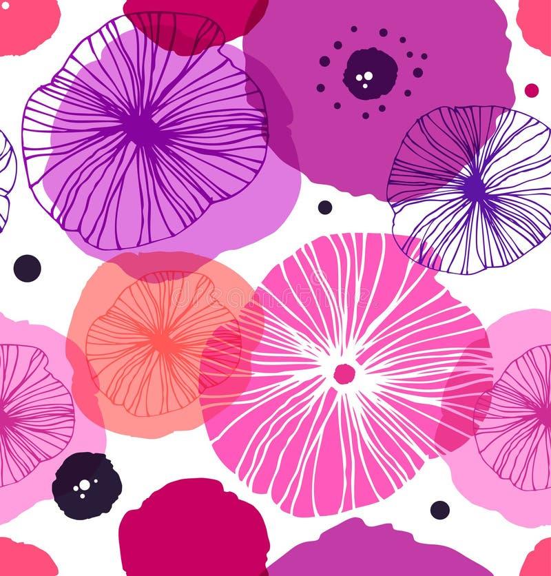Modèle décoratif sans couture avec des pavots Pavot élégant de vecteur Fond floral de Rose illustration libre de droits