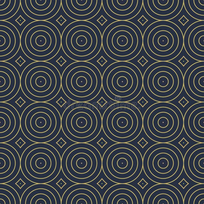 Mod?le d?coratif sans couture de vecteur avec des formes g?om?triques de cercles Fond bleu minimalistic de r?sum? illustration de vecteur