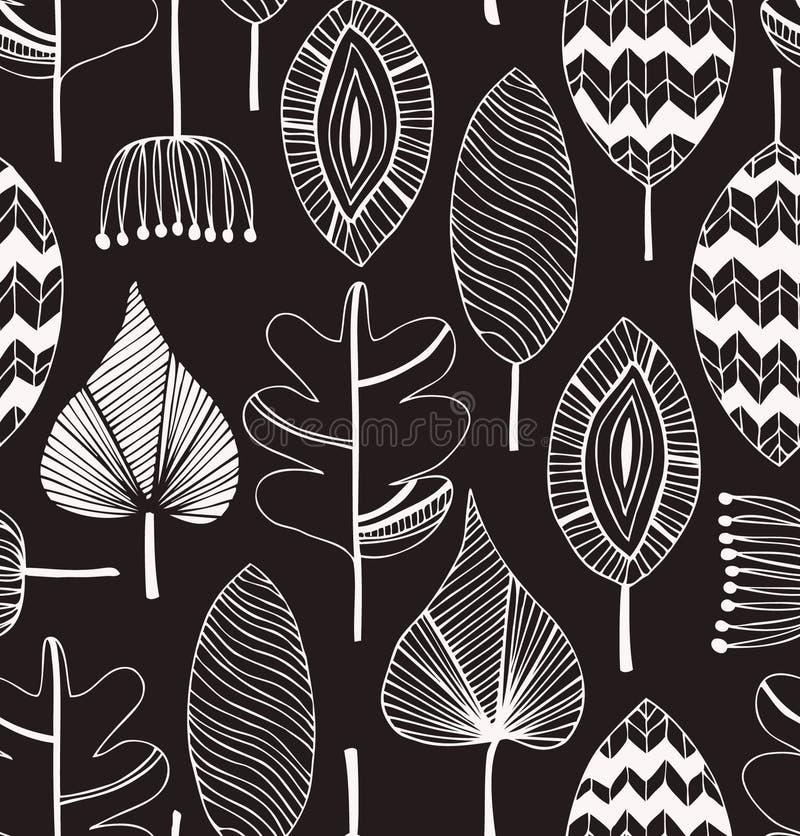 Modèle décoratif sans couture linéaire floral illustration de vecteur