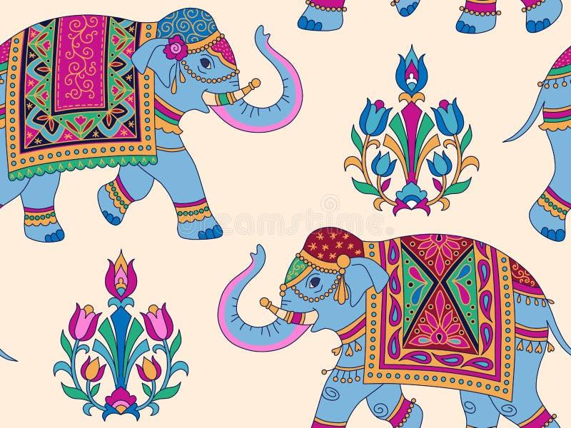 Modèle d'éléphants d'Asie illustration stock