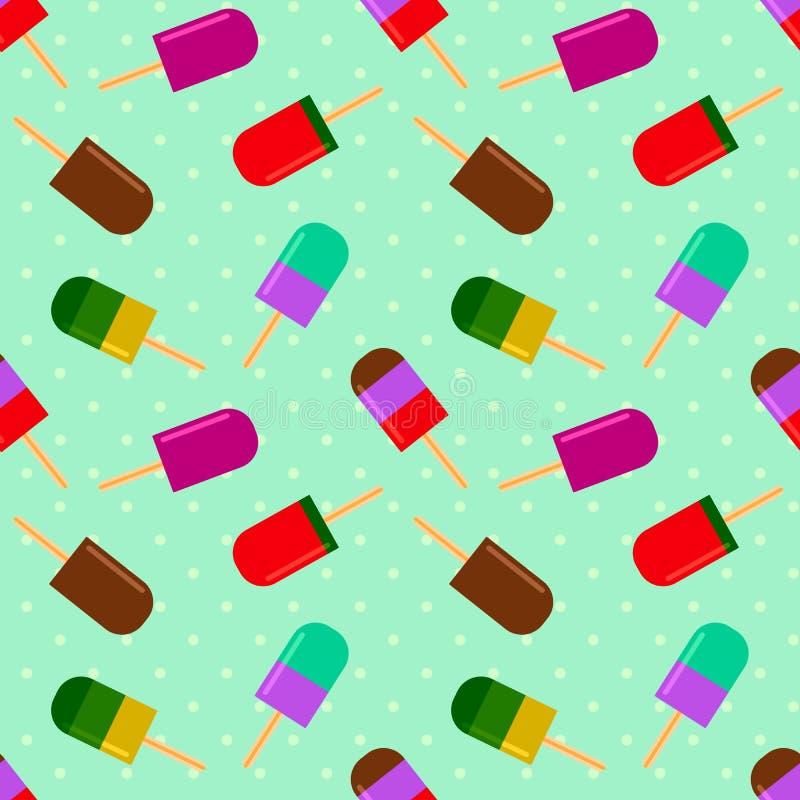 Modèle d'été avec de la glace à l'eau fruitée sur un fond de point de polka illustration de vecteur
