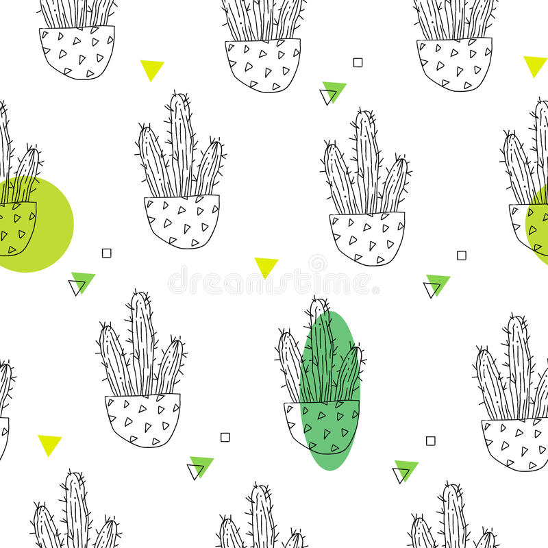 Modèle d'été avec des cactus de découpe et des taches vertes sur le fond blanc Ornement pour le textile et l'emballage Vecteur illustration de vecteur