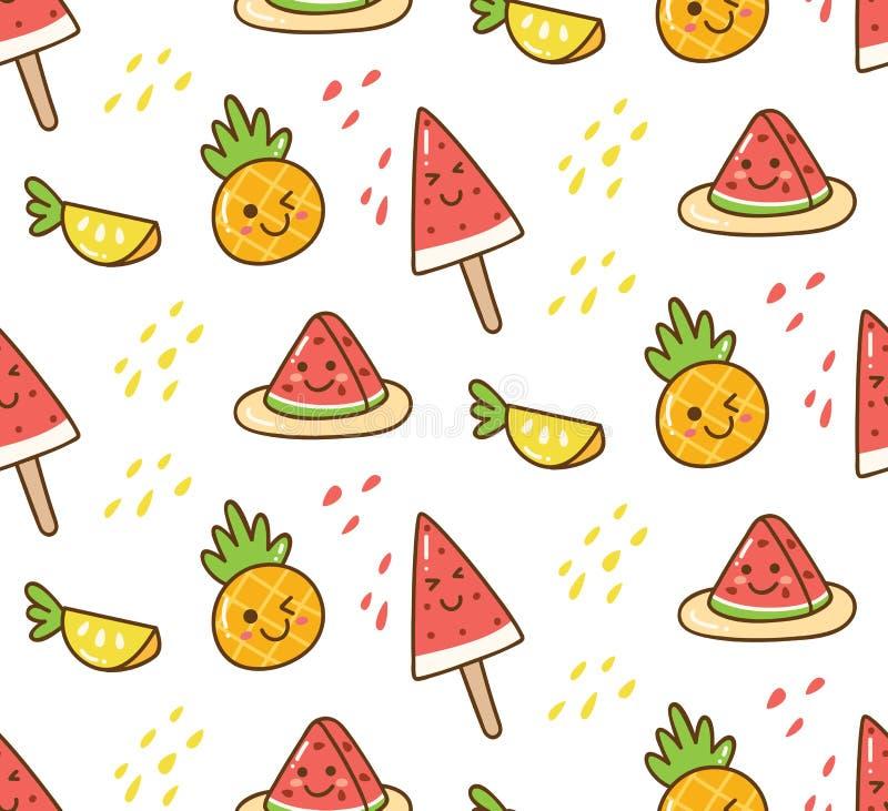 Modèle d'été de Kawaii avec la pastèque et l'ananas illustration stock