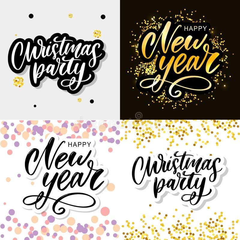 Modèle d'affiche de la fête de Noël Lettres écrites à la main, typographie étincelante illustration libre de droits