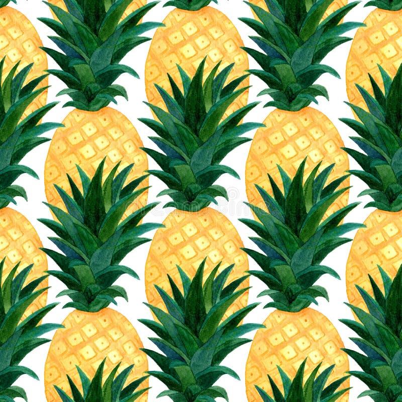 Modèle d'ananas d'aquarelle Répétition de la texture avec l'ananas réaliste sur le fond blanc Conception de papier peint d'été de illustration stock