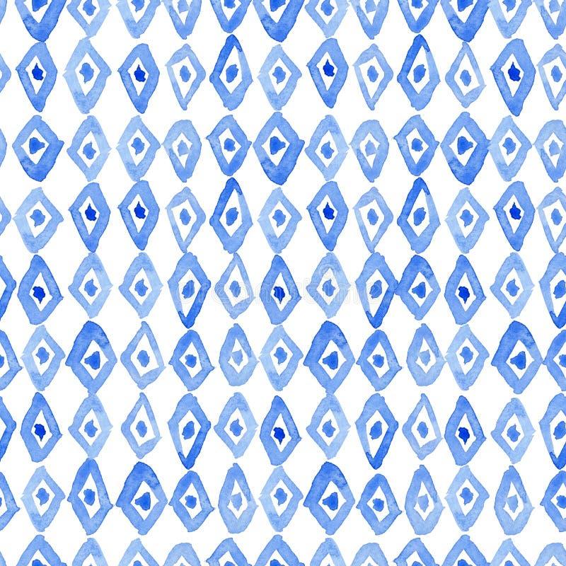 Modèle d'aquarelle avec des rangées de losange bleu illustration libre de droits