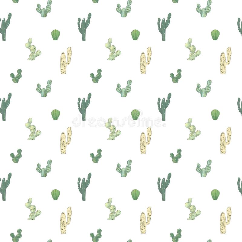 Mod?le d'aquarelle avec le cactus diff?rent o Fond de dessin de main naturelle avec le d?sert illustration libre de droits