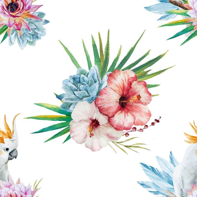 Modèle d'aquarelle avec le perroquet et les fleurs illustration libre de droits