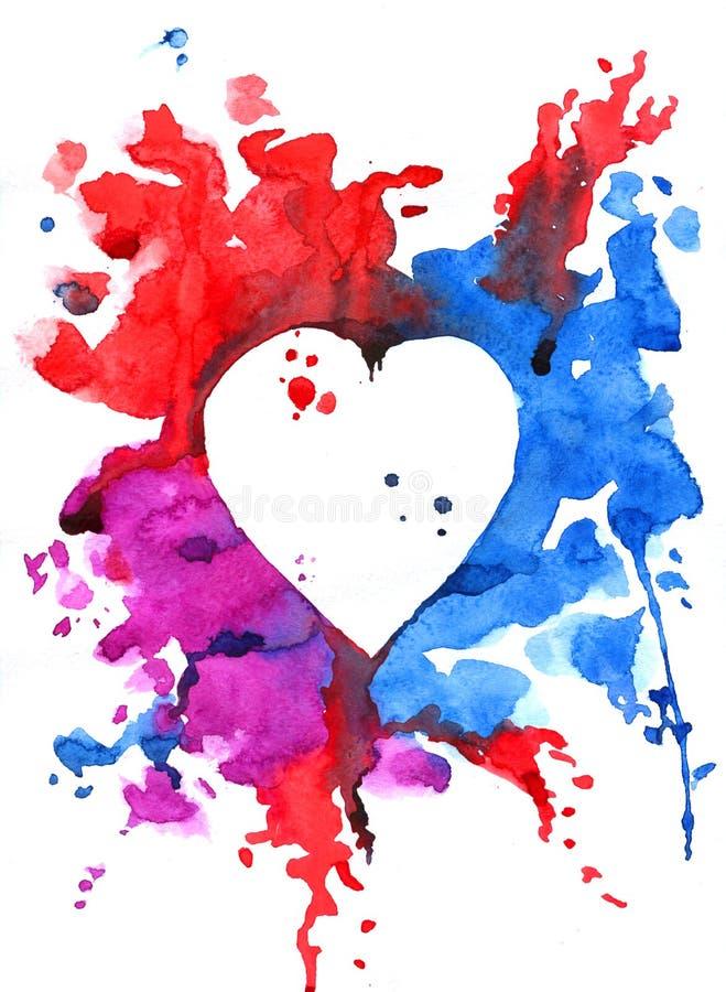 Modèle d'aquarelle de coeur varicolored illustration libre de droits
