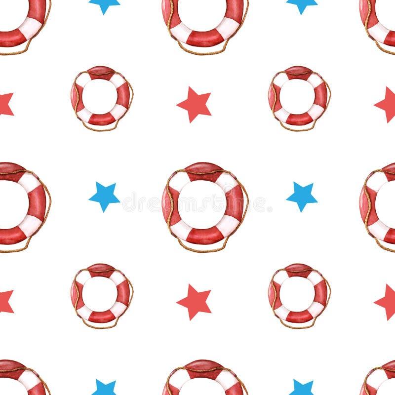 Modèle d'aquarelle de vie-anneau avec les étoiles rouges et bleues Bou?e de sauvetage avec la corde photographie stock
