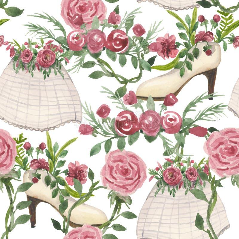 Modèle d'aquarelle sur le thème de mariage, illustration stock
