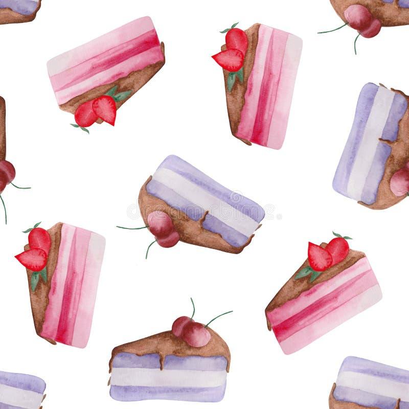 Mod?le d'aquarelle d'un morceau de g?teau avec des fraises et des cerises sur un fond blanc illustration libre de droits