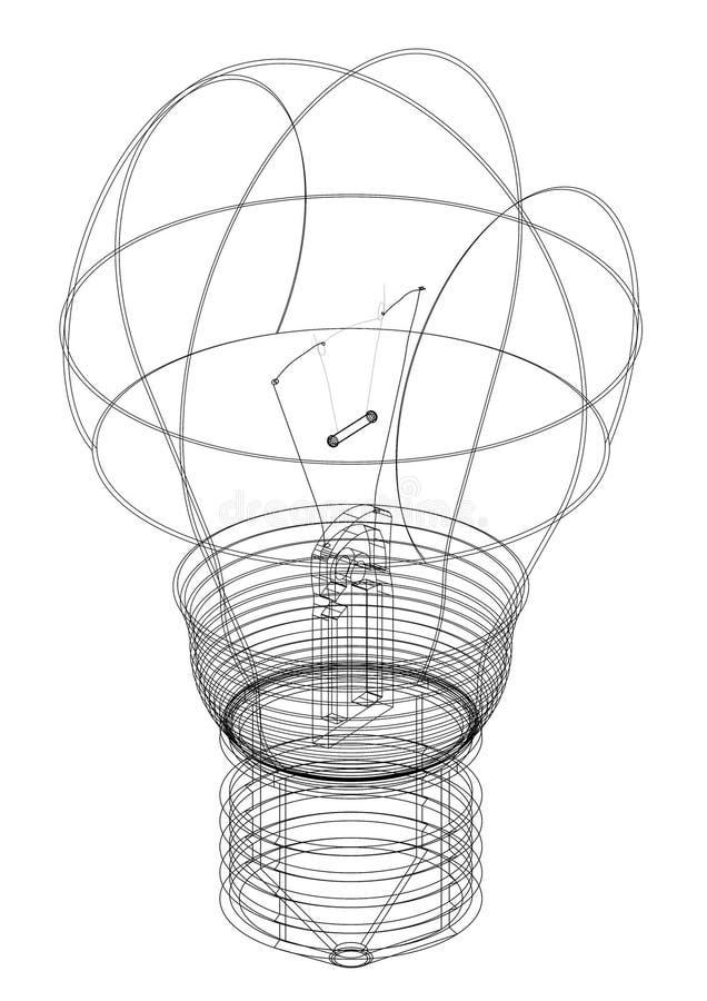 Modèle d'architecte d'ampoule - d'isolement illustration de vecteur
