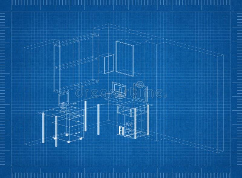 Modèle d'architecte de pièce de fonctionnement illustration libre de droits