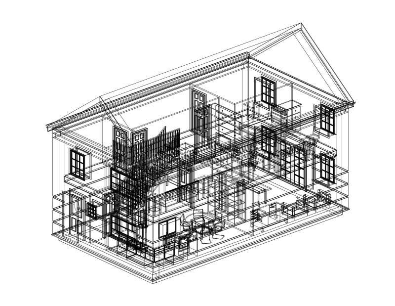 Modèle d'architecte de plan de Chambre - d'isolement illustration stock