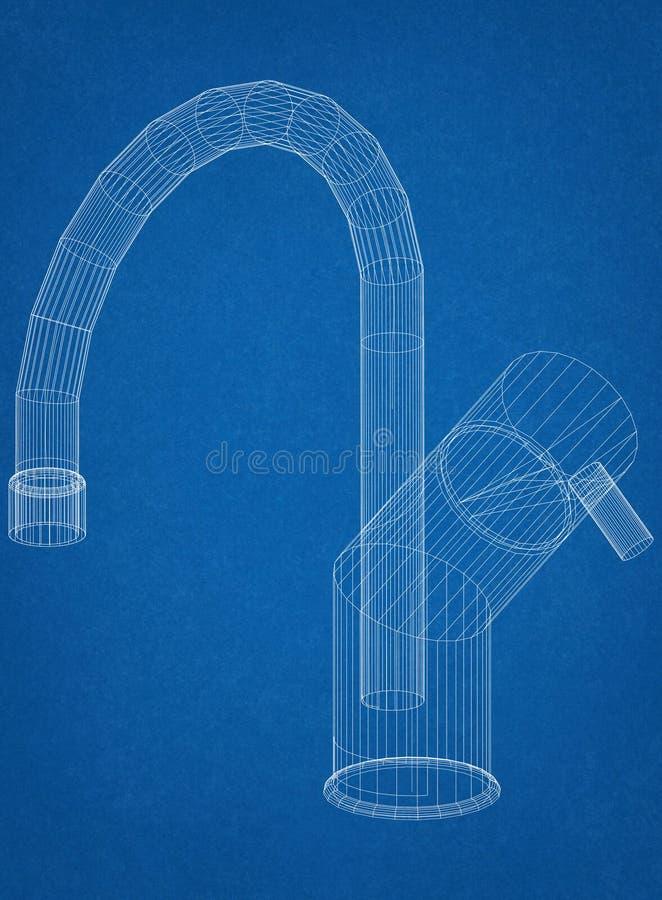 Modèle d'architecte de robinet illustration de vecteur
