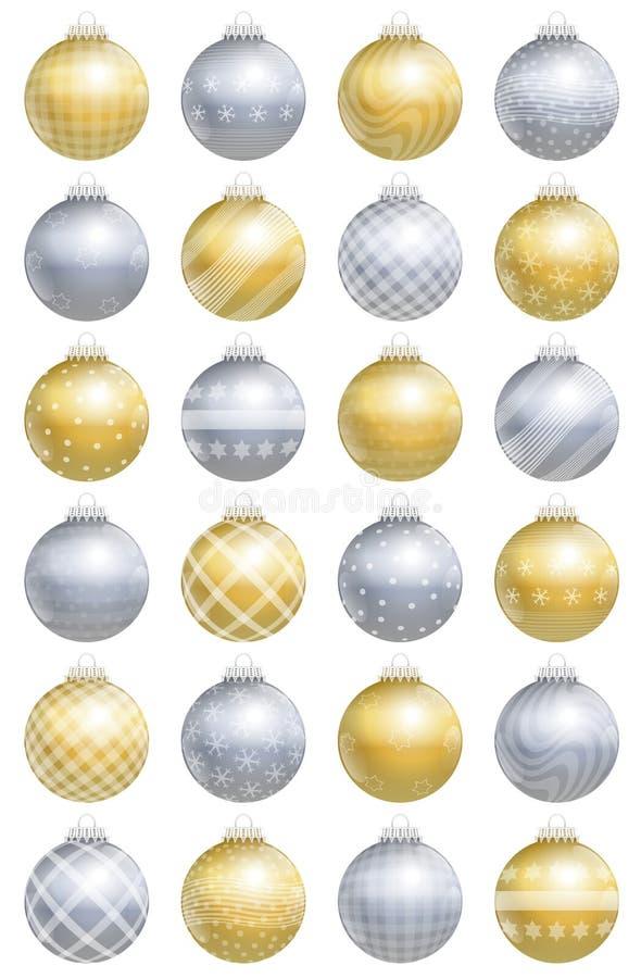 Modèle d'argent d'or de boules de Noël illustration libre de droits