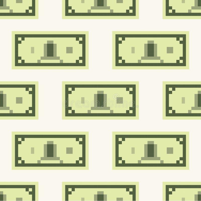 Modèle d'argent liquide de billet de banque du dollar, sans couture, tuile, style de jeu de bande dessinée d'art de pixel de fond illustration libre de droits