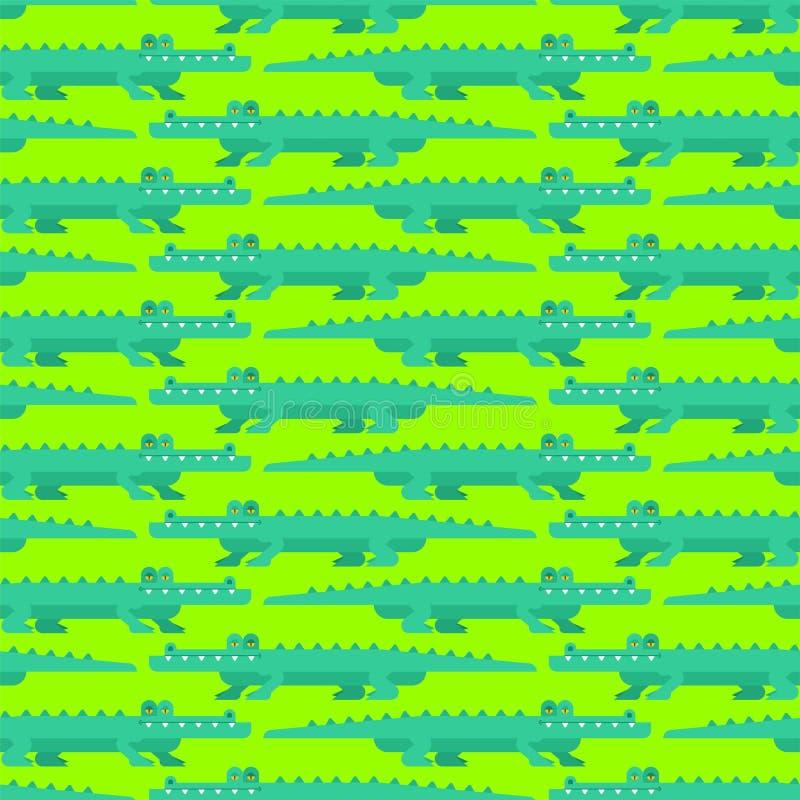 Modèle d'art de pixel de crocodile sans couture Fond mordu de l'alligator 8 le croc ornementent le vieux jeu de graphiques illustration de vecteur