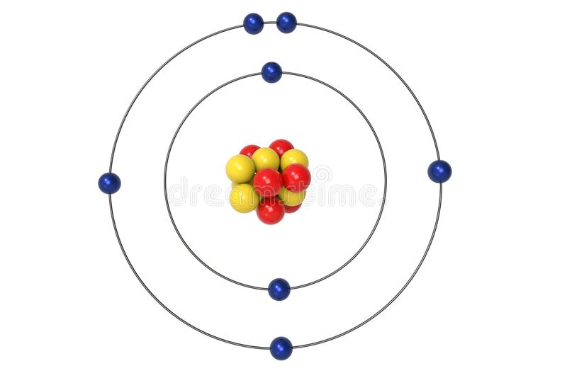 Modèle d'Atom Bohr d'azote avec le proton, le neutron et l'électron illustration libre de droits