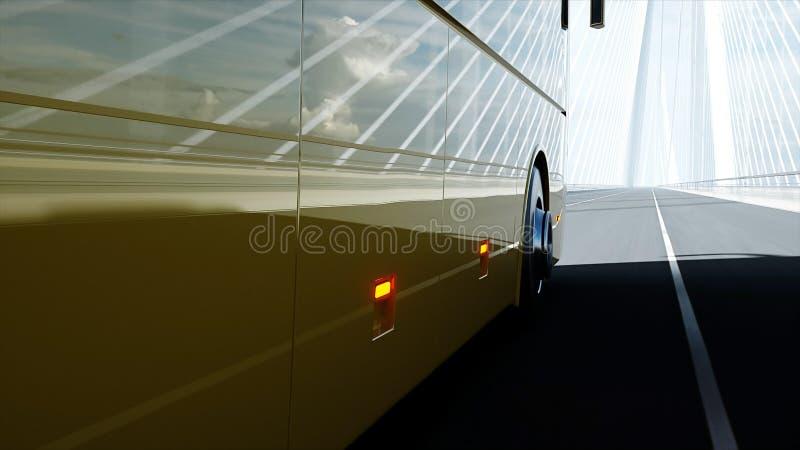 modèle 3d d'autobus de touristes sur le pont Entra?nement tr?s rapide rendu 3d illustration de vecteur