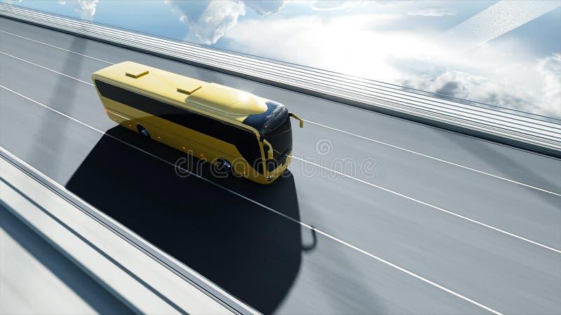 modèle 3d d'autobus de touristes sur le pont Entra?nement tr?s rapide rendu 3d illustration stock