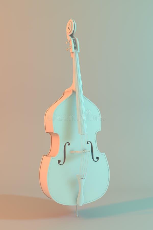 Modèle 3d blanc d'une double basse illustration de vecteur