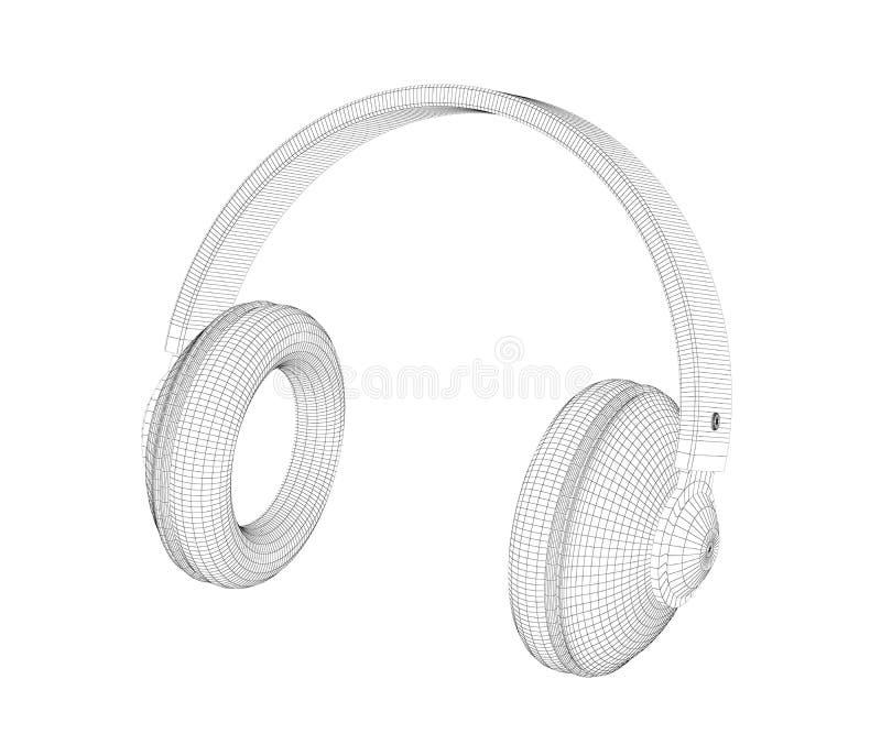 modèle 3D de grands écouteurs de sur-oreille illustration stock