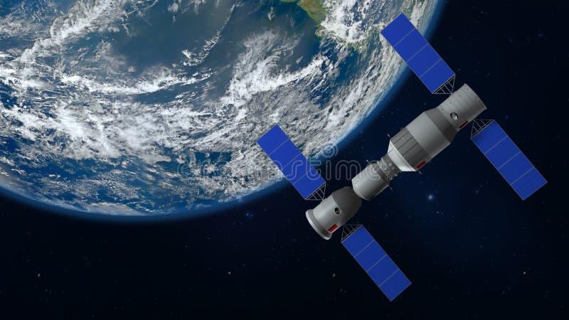 modèle 3D de la station spatiale chinoise Tiangong satellisant la terre de planète photographie stock