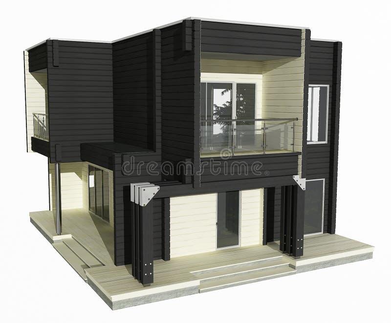 modèle 3d de maison en bois noire et blanche sur un fond blanc. illustration stock