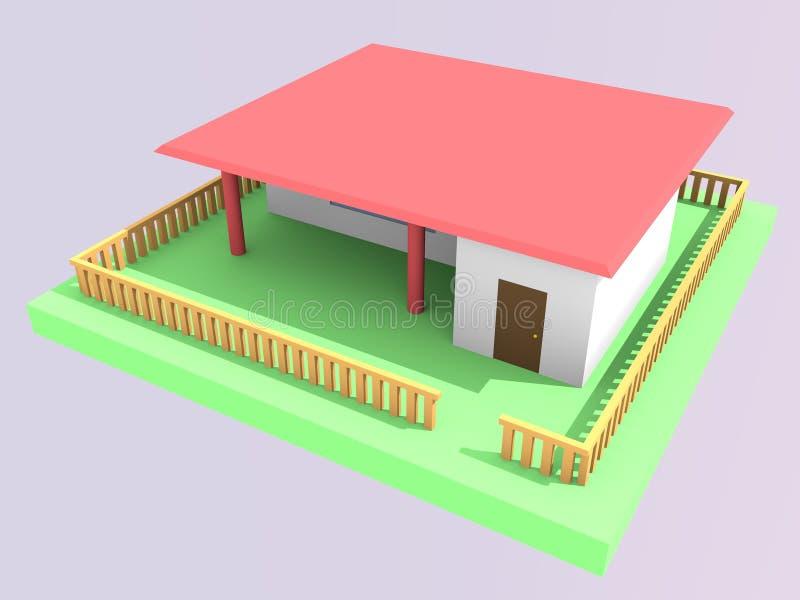 modèle 3d de maison permettant, vue en haut à droite image stock