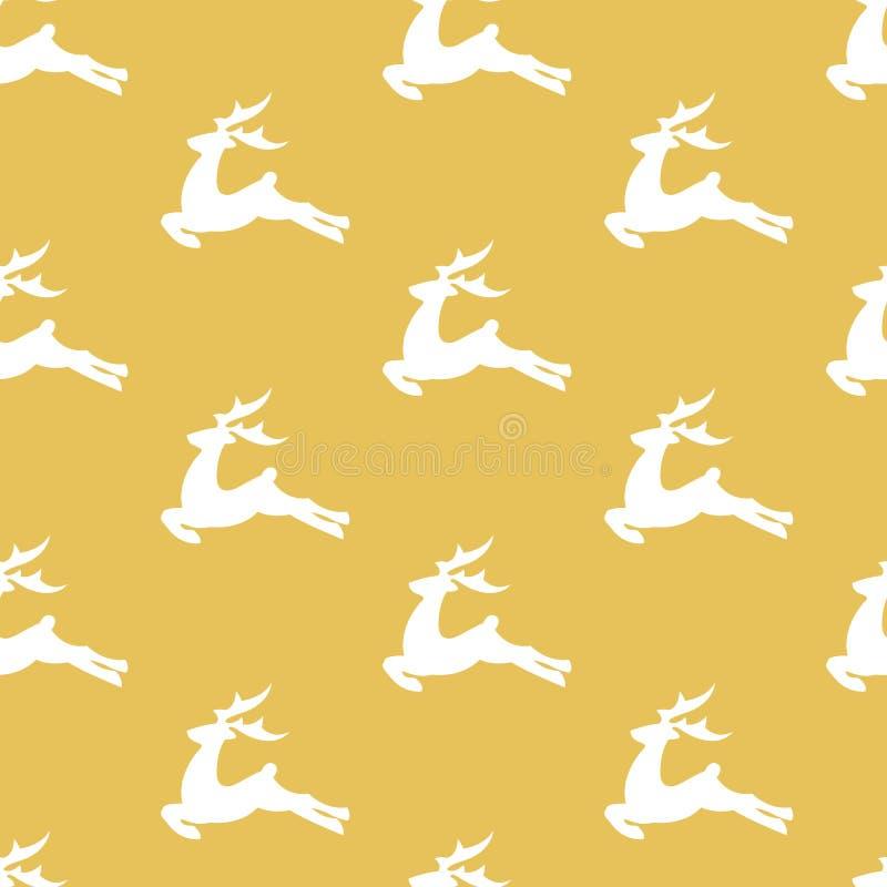 Modèle d'or de Noël de vecteur avec les cerfs communs blancs illustration libre de droits